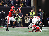 January 8th 2018, Atlanta, GA, USA;  Georgia Bulldogs running back Nick Chubb (27) catches a pass on the first play of the game during the College Football Playoff National Championship Game between the Alabama Crimson Tide and the Georgia Bulldogs on January 8, 2018 at Mercedes-Benz Stadium in Atlanta, GA. (Photo by David John Griffin/Icon Sportswire)
