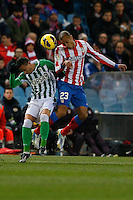 03.02.2013 SPAIN -  La Liga 12/13 Matchday 22th  match played between Atletico de Madrid vs Real Betis Balompie (1-0) at Vicente Calderon stadium. The picture show  Joao Miranda de Souza (Brazilian defender of At. Madrid)