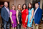 Pat Slattery, Margaret Quirke Jactina McMahon, Theresa Leonard, Maire McMahon and John O'Sullivan, pictured at the Lee Strand Social, at Ballygarry House Hotel & Spa, Tralee, on Saturday night last.
