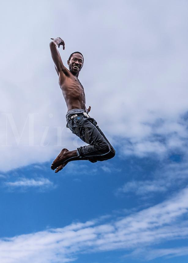 Jamaican cliff jumper, Negril, Jamaica
