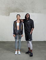Advertising and Commercial with Nike brand clothing shot in Venice, California, May 7, 2018. Models: Julia Sklar and DeVon Drakkar, <br /> <br /> Photo by Matt Nager