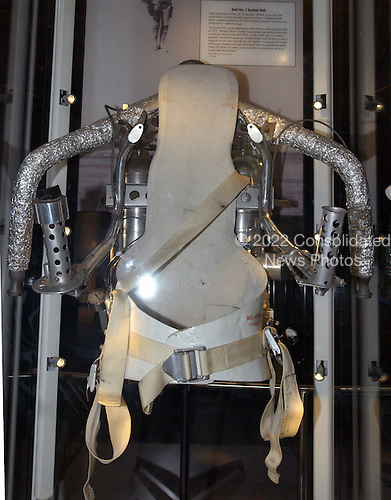 Chantilly, VA - December 11, 2003 -- Bell No. 2 Rocket Belt on display in the new Steven F. Udvar-Hazy Center in Chantilly, Virginia on December 11, 2003.  Often called the Jet Pack, Jet Flying Belt, Jet Belt , or Jet Vest, the rocket belt is a small personal-propulsion device.  Strapped on the back, it enables a person to fly short distances using low rocket power produced by a noncombusting gas.  .Credit: Ron Sachs / CNP.(RESTRICTION: NO New York or New Jersey Newspapers or newspapers within a 75 mile radius of New York City)