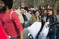 NEW YORK CITY, NY - APRIL 2 : People take part during the International pillow fight event in Washington Square Park on April 2, 2016 in New York City, New York. Thousands of people of all ages attend the free global event in different cities worldwide celebrating the 11th annual International Pillow Fight in New York. Photo by VIEWpress/Maite H. Mateo