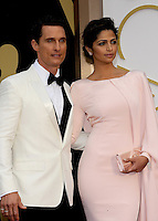 HOLLYWOOD, CA - MARCH 2: Matthew McConaughey, Camila Alves arriving to the 2014 Oscars at the Hollywood and Highland Center in Hollywood, California. March 2, 2014. Credit: SP1/Starlitepics. /NORTePHOTO