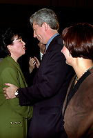 Montreal (Qc) CANADA -Feb 17 1996 File Photo-<br /> Leadership candidate  Francine Lalonde (L) talk with  Gilles Duceppe after (M) and his wife, after<br /> Michel Gauthier  got elected as leader of the BLOC QUEBCOIS, February 17, 1996. Later he will be replaced ly Gilles Duceppe.