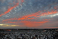 Nov. 8, 2009; Fort Worth, TX, USA; The sun sets over the main parking lot during the Dickies 500 at the Texas Motor Speedway. Mandatory Credit: Mark J. Rebilas-