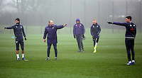 (L-R) Jack Cork, assistant coach Karl Halabi, head coach Paul Clement, Mike van der Hoorn and Federico Fernandez in action during the Swansea City Training at The Fairwood Training Ground, Swansea, Wales, UK. Wednesday 22 February 2017