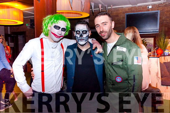 Greg O'Brien, Pierce Owens and Lee Hayden pictured at Benners Hotel's Boos and Booze Halloween Party in association with Gordons Pink Gin on Sunday.