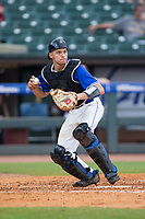 Duke Blue Devils catcher Chris Proctor (23) checks the runner on first base during the game against the Florida State Seminoles in the first semifinal of the 2017 ACC Baseball Championship at Louisville Slugger Field on May 27, 2017 in Louisville, Kentucky.  The Seminoles defeated the Blue Devils 5-1.  (Brian Westerholt/Four Seam Images)
