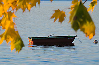 A rowboat on Lake Superior framed by yellow leaves in fall color in autumn in Marquette Michigan.