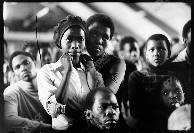 During  a memorial at Soweto's Regina Mundi Catholic Church for the victims of the Soweto (June '76) Massacre. Soweto, South Africa, June 1976.