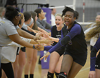 NWA Democrat-Gazette/ANDY SHUPE<br /> Fayetteville's Har-Ber's Wednesday, Sept. 13, 2017, during play in Bulldog Arena. Visit nwadg.com/photos to see more photographs from the match.