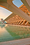 Museo de les Ciencies Principe Felipe at sunset; in the City of Arts and Sciences complex built in the former riverbed of Turia river; designed by Sanitago Calatrava