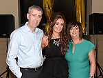 Shauna Flood celebrating her 21st birthday in the Thatch with parents Liam and Maria. Photo:Colin Bell/pressphotos.ie
