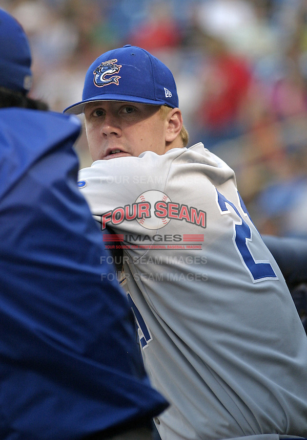 Los Angeles Dodgers minor league pitcher Brandon Weeden in the dugout during a game against the Lake County Captains at Classic Park on May 12, 2004 in Eastlake, Ohio.  Weeden was originally drafted by the NY Yankees in the second round of the MLB Draft but retired from baseball after the 2006 season, he is now a Heisman Trophy candidate as quarterback of the Oklahoma State Cowboys.  (Mike Janes/Four Seam Images)