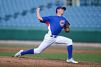 Pitcher Kade McClure (29) of Mentor High School in Mentor, Ohio playing for the Chicago Cubs scout team during the East Coast Pro Showcase on August 2, 2013 at NBT Bank Stadium in Syracuse, New York.  (Mike Janes/Four Seam Images)