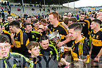 Dr Crokes captain Johnny Buckley with the Bishop Moynihan Cup after defeating Kenmare District in the Senior County Football Championship final at Fitzgerald Stadium on Sunday.