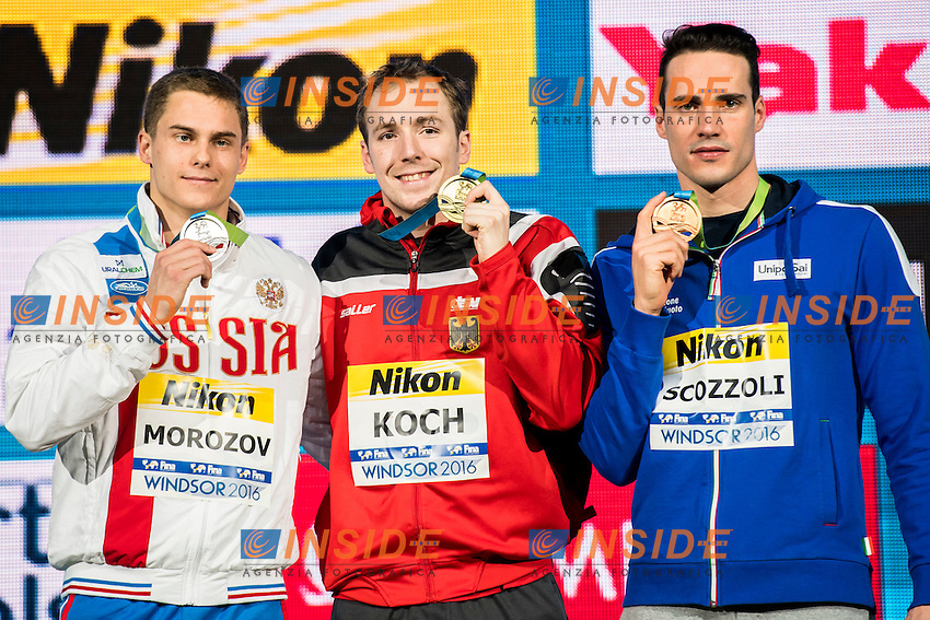 KOCH Marco GER Gold Medal<br /> MOROZOV Vladimir RUS Silver Medal<br /> SCOZZOLI Fabio ITA Bronze Medal<br /> Men's 100m Breaststroke<br /> 13th Fina World Swimming Championships 25m <br /> Windsor  Dec. 7th, 2016 - Day02 Finals<br /> WFCU Centre - Windsor Ontario Canada CAN <br /> 20161207 WFCU Centre - Windsor Ontario Canada CAN <br /> Photo &copy; Giorgio Scala/Deepbluemedia/Insidefoto