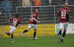 Sandhausen 19.04.2008, In der Bildmitte der Torsch&uuml;tze Steffen Wohlfarth (Ingolstadt), daneben Andreas Buchner (Ingolstadt) und Necat Ayg&uuml;n (Ingolstadt) in der Regionalliga S&uuml;d 2007/08 SV Sandhausen 1916 - FC Ingolstadt 04<br /> <br /> Foto &copy; Rhein-Neckar-Picture *** Foto ist honorarpflichtig! *** Auf Anfrage in h&ouml;herer Qualit&auml;t/Aufl&ouml;sung. Belegexemplar erbeten.
