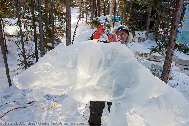 "Junichi Nakamura, Japan, works on the details of an attacking wolf for the multi block sculpture titled ""White Fang"" for the 2009 World Ice Art Championships in Fairbanks, Alaska. Team members: Junichi Nakamura, Shinichi Sawamura, Fukumi Furukawa, Takao Waki."