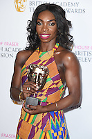 Michaela Coel<br /> in the winners room at the 2016 BAFTA TV Awards, Royal Festival Hall, London<br /> <br /> <br /> &copy;Ash Knotek  D3115 8/05/2016