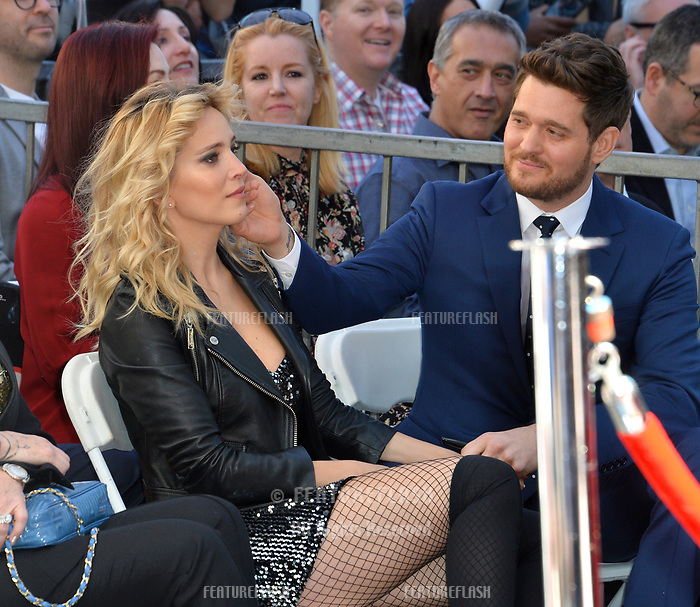 LOS ANGELES, CA. November 16, 2018: Michael Buble &amp; Luisana Lopilato at the Hollywood Walk of Fame Star Ceremony honoring singer Michael Bubl&eacute;.<br /> Pictures: Paul Smith/Featureflash
