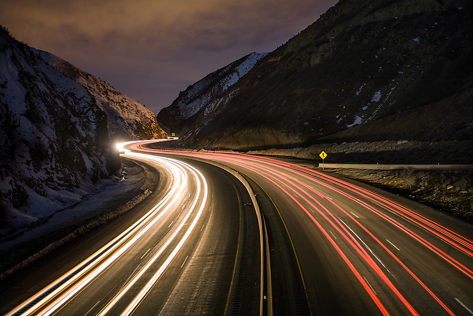 Late night long exposure along the road to Salt Lake City.