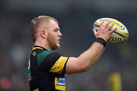 Mike Haywood of Northampton Saints looks to throw into a lineout. Aviva Premiership match, between Northampton Saints and Sale Sharks on March 3, 2018 at Franklin's Gardens in Northampton, England. Photo by: Patrick Khachfe / JMP