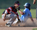 Belleville East's Dillon Donjon (right) is safe at second base after the ball got loose from Alton's Robby Taul in a Class 4A regional semifinal at Alton High School in Alton, IL on Thursday May 23, 2019.<br /> Tim Vizer/Special to STLhighschoolsports.com
