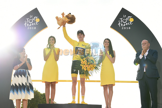 Geraint Thomas (WAL) Team Sky wins the overall Yellow Jersey, on the podium at the end of Stage 21 of the 2018 Tour de France running 116km from Houilles to Paris Champs-Elysees, France. 29th July 2018. <br /> Picture: ASO/Pauline Ballet | Cyclefile<br /> All photos usage must carry mandatory copyright credit (&copy; Cyclefile | ASO/Pauline Ballet)