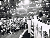 Actor Jimmy Stewart speaks during the first night of the 1972 Republican National Convention at the Miami Beach Convention Center in Miami Beach, Florida on August 21, 1972.  Visible in the frame at far right is Governor Ronald Reagan (Republican of California).<br /> Credit: Arnie Sachs / CNP