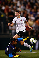 Western New York Flash goalkeeper Adrianna Franch (24) denies Portland Thorns forward Danielle Foxhoven (9) during the National Women's Soccer League (NWSL) finals at Sahlen's Stadium in Rochester, NY, on August 31, 2013.