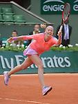 Petra Kvitova (CZE) defeats Marina Erakovic (NZL) 6-4, 3-6, 6-4 at  Roland Garros being played at Stade Roland Garros in Paris, France on May 26, 2015