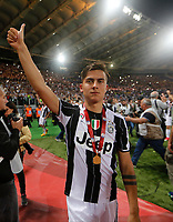 Paulo Dyabala   celebrate after win the Italian Cup Final  football match against Lazio  at  the Olympic stadium in Rome, Italy on the 17th May 2017