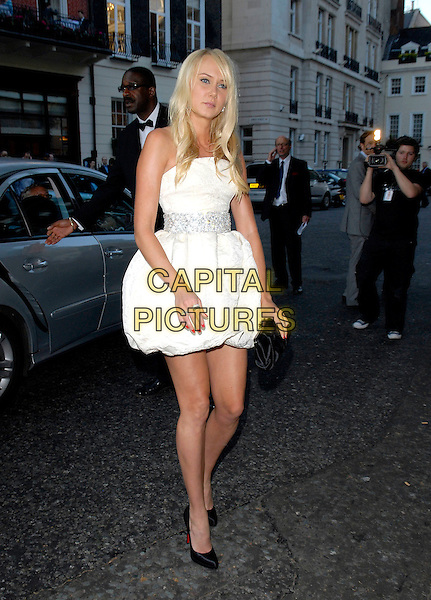 KIMBERLY STEWART.Arrivals at the 4th Annual Glamour Women Of The Year Awards, Berkely Square Gardens, London, England. .June 5th 2007.full length kimberley white cream strapless puffball hem dress puffy black shoes clutch purse nail varnish polish christian louboutin shoes .CAP/FIN.©Steve Finn/Capital Pictures