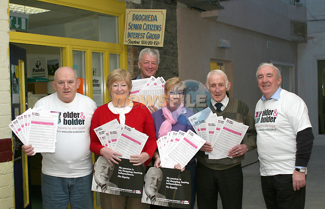 John Monahan, Bridie McIvor, Dave Turner, Joan McEvoy, Peadar Reynolds and Michael Clarke of Drogheda Senior Citizens with signed petitions against cuts for the elderly...Photo NEWSFILE/Jenny Matthews.(Photo credit should read Jenny Matthews/NEWSFILE)....This Picture has been sent you under the condtions enclosed by:.Newsfile Ltd..The Studio,.Millmount Abbey,.Drogheda,.Co Meath..Ireland..Tel: +353(0)41-9871240.Fax: +353(0)41-9871260.GSM: +353(0)86-2500958.email: pictures@newsfile.ie.www.newsfile.ie.FTP: 193.120.102.198.