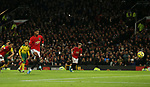 Marcus Rashford of Manchester United scores the second goal from the penalty spot during the Premier League match at Old Trafford, Manchester. Picture date: 11th January 2020. Picture credit should read: James Wilson/Sportimage