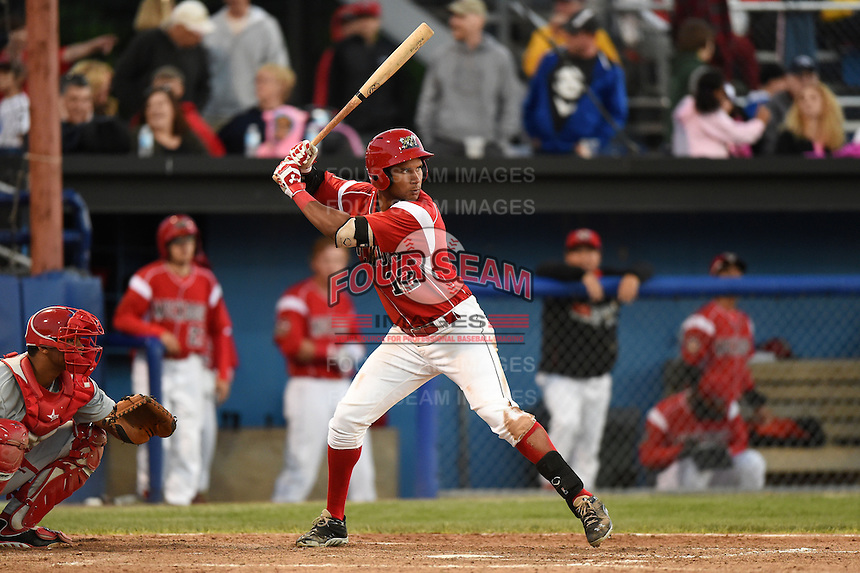 Batavia Muckdogs outfielder Kevin Grove (12) at bat during a game against the Auburn Doubledays on June 14, 2014 at Dwyer Stadium in Batavia, New York.  Batavia defeated Auburn 7-2.  (Mike Janes/Four Seam Images)