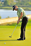 30 August 2009: Heath Slocum putts on the 18th hole to win The Barclays PGA Playoffs at Liberty National Golf Course in Jersey City, New Jersey.