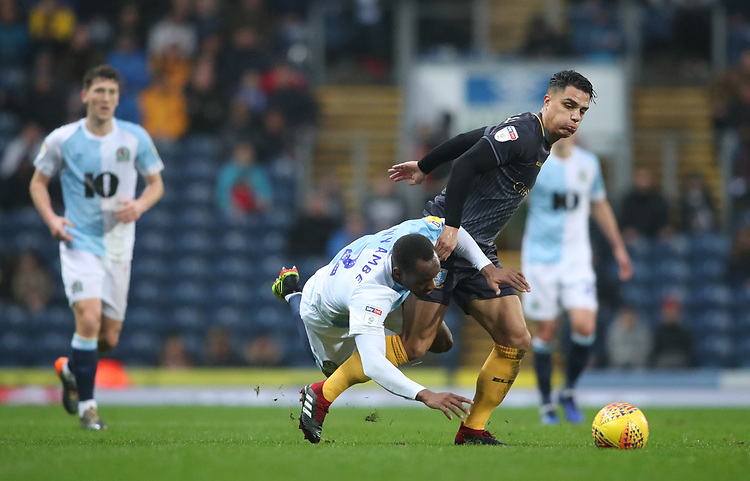 Blackburn Rovers' Ryan Nyambe and Joey Pelupessy<br /> <br /> Photographer Rachel Holborn/CameraSport<br /> <br /> The EFL Sky Bet Championship - Blackburn Rovers v Sheffield Wednesday - Saturday 1st December 2018 - Ewood Park - Blackburn<br /> <br /> World Copyright &copy; 2018 CameraSport. All rights reserved. 43 Linden Ave. Countesthorpe. Leicester. England. LE8 5PG - Tel: +44 (0) 116 277 4147 - admin@camerasport.com - www.camerasport.com