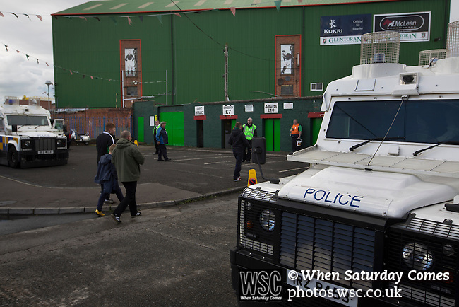 Glentoran 2 Cliftonville 1, 22/10/2016. The Oval, NIFL Premiership. Police Service of Northern Ireland officers on duty as home fans arrive at The Oval, Belfast before Glentoran hosted city-rivals Cliftonville in an NIFL Premiership match. Glentoran, formed in 1892, have been based at The Oval since their formation and are historically one of Northern Ireland's 'big two' football clubs. They had an unprecendentally bad start to the 2016-17 league campaign, but came from behind to win this fixture 2-1, watched by a crowd of 1872. Photo by Colin McPherson.