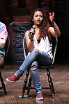 "Sasha Hollinger during a Q & A before The Rockefeller Foundation and The Gilder Lehrman Institute of American History sponsored High School student #eduHam matinee performance of ""Hamilton"" at the Richard Rodgers Theatre on May 9, 2018 in New York City."