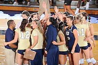 27 September 2008:  FIU's volleyball team celebrates the FIU 3-0 (25-13, 25-23, 25-18) victory in straight sets over Troy at Golden Panther Arena in Miami, Florida.