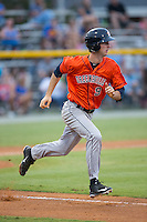 Kyle Tucker (9) of the Greeneville Astros hustles down the first base line against the Burlington Royals at Burlington Athletic Park on August 29, 2015 in Burlington, North Carolina.  The Royals defeated the Astros 3-1. (Brian Westerholt/Four Seam Images)