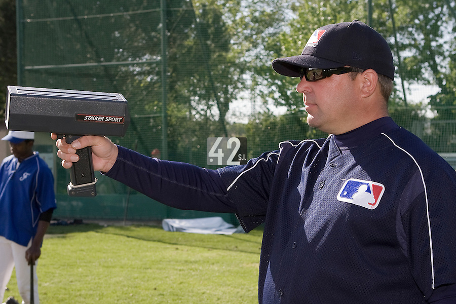 30 April 2008: MLB representative is seen during the first of seven 2008 MLB European Academy Try-out Sessions throughout Europe, at Stade Kandy Nelson Ball Park, in Toulouse, France. Try-out sessions are run by members of the Major League Baseball Scouting Bureau with assistance from MLBI staff.