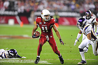 Dec 6, 2009; Glendale, AZ, USA; Arizona Cardinals wide receiver (11) Larry Fitzgerald runs the ball in the third quarter against the Minnesota Vikings at University of Phoenix Stadium. The Cardinals defeated the Vikings 30-17. Mandatory Credit: Mark J. Rebilas-