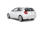 Rear three quarter view of a 2007 - 2011 BMW 1-Series 123d 3 Door Hatchback 2WD.