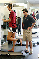 1 June 2007: Kristin Richards during a training workout to rehab her knee at the Arrillaga Center for Sports and Recreation in Stanford, CA.