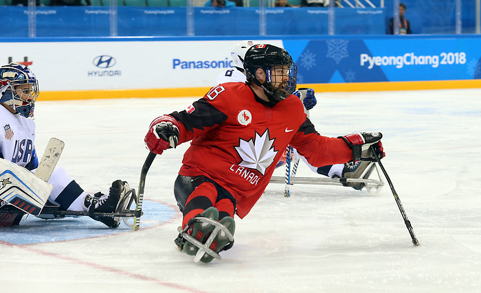 Pyeongchang, Korea, 18/3/2018-Billy Bridges compete in the gold medal ice game against the USA during the 2018 Paralympic Games. Photo: Scott Grant/Canadian Paralympic Committee.