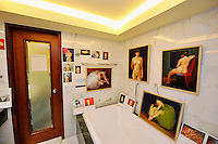 HONG KONG - MARCH 12:  Paintings by Roh Kwang represented by gallery Violet (South Korea) are displayed in a bathroom as part of the Asia Contemporary Art exhibition that takes place in the bedrooms of Conrad hotel on March 12, 2015 in Hong Kong, Hong Kong.  (Photo by Lucas Schifres/Getty Images)